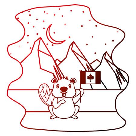 cute beaver in winter landscape vector illustration neon Illustration