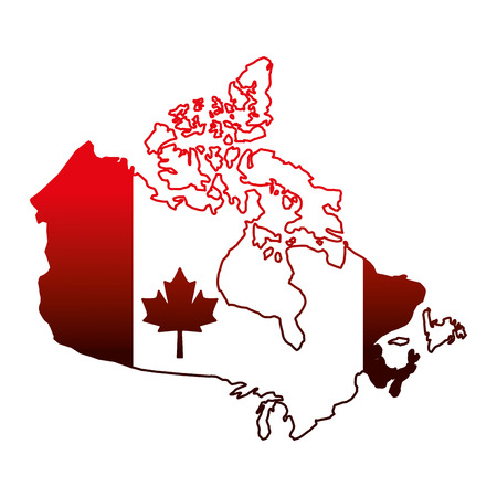canada day and flag in map country vector illustration neon  イラスト・ベクター素材