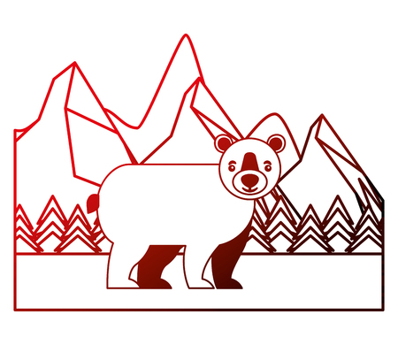 bear grizzly in winter forest landscape vector illustration neon