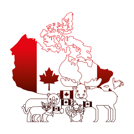 canada day celebration map animals and flag national vector illustration neon