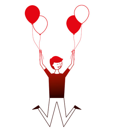 happy celebrating man holding balloons vector illustration neon Vettoriali