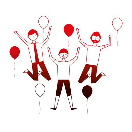 group of men celebration with balloons vector illustration neon