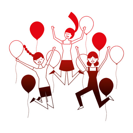 happy group women with balloons vector illustration neon