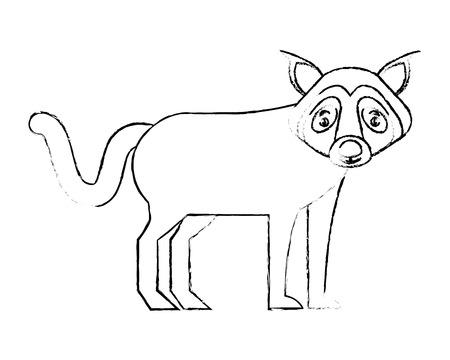 wolf beast creature animal image vector illustration Ilustrace