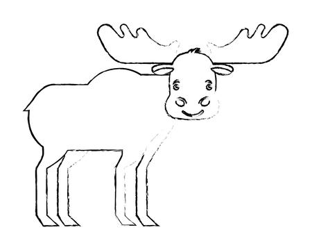 moose animal canada nature wild vector illustration