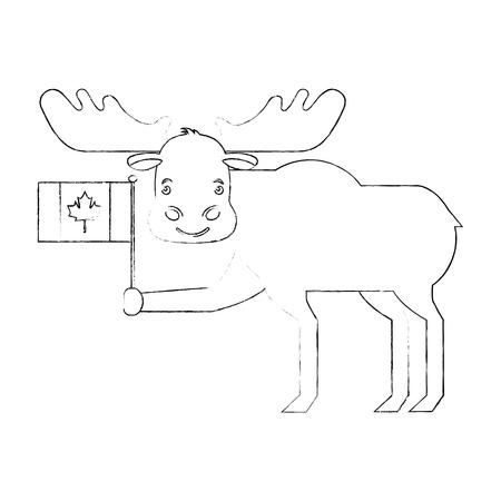 cute moose holding canadian flag vector illustration Archivio Fotografico - 103552876