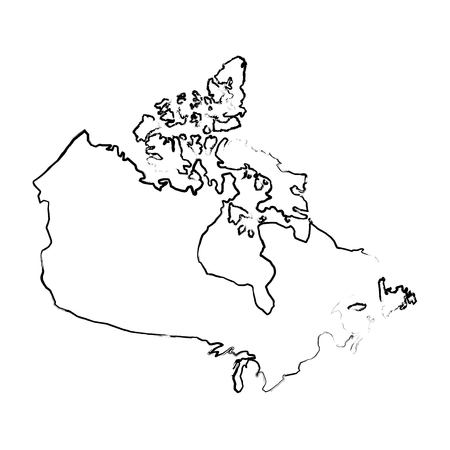 canadian map geography country silhouette vector illustration