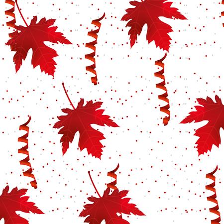 canada day maple leaf confetti celebration pattern vector illustration Illustration