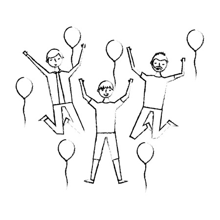 group of men celebration with balloons vector illustration