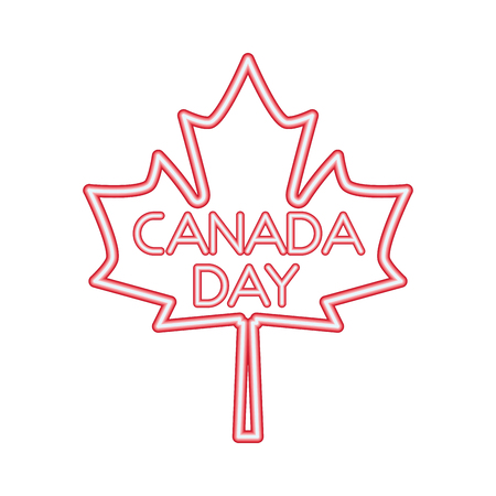 canada day maple leaf neon symbol vector illustration