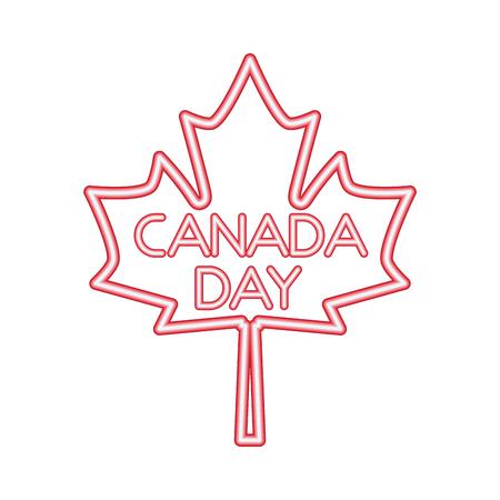 canada day maple leaf neon symbol vector illustration