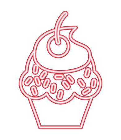 neon light sweet cupcake cherry vector illustration