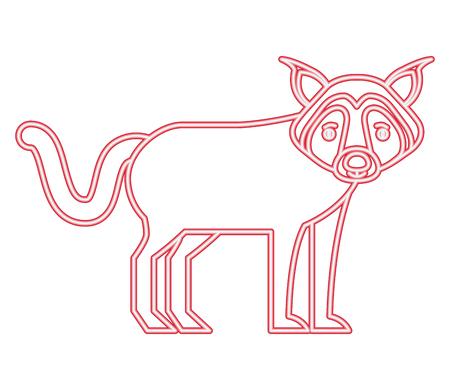 neon wolf beast creature animal image vector illustration