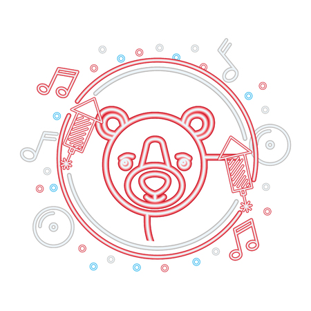 neon portrait bear wild music decoration vector illustration