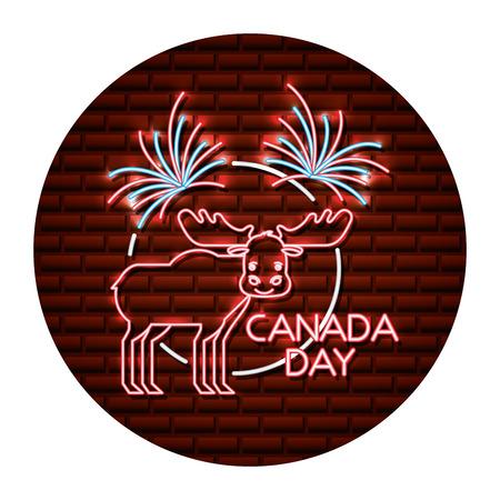 neon moose animal canada nature wild vector illustration