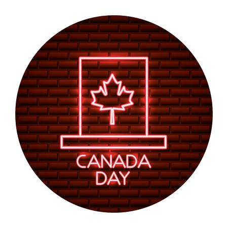 neon top hat with maple leaf canada day vector illustration Illustration