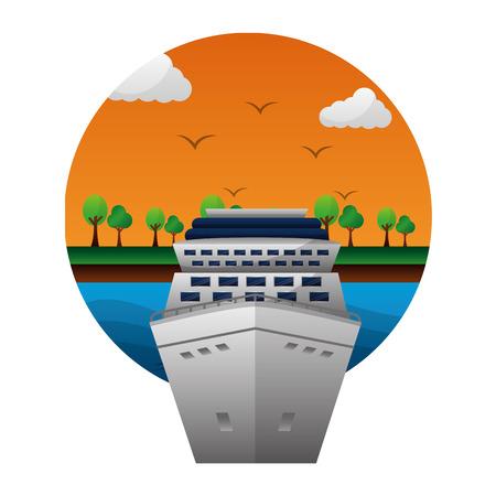 travel cruise ship world vacation landscape vector illustration