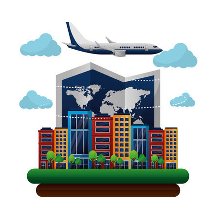 travel world airplane map urban hotels vector illustration