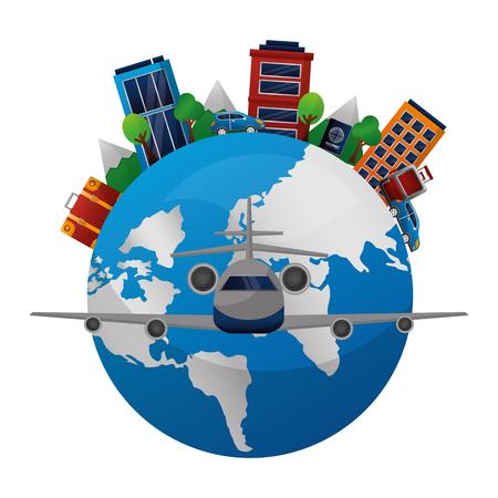 world globe airplane map travel tourism hotels vector illustration Illustration