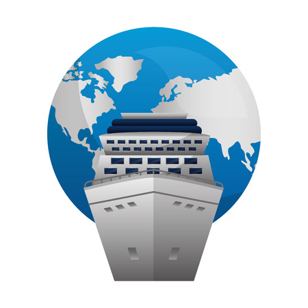 travel cruise ship world globe map vector illustration Stock Illustratie