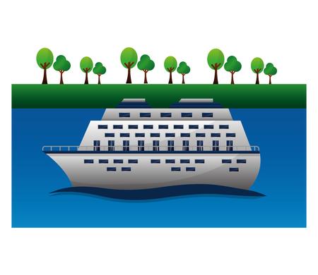 travel cruise ship world vacation vector illustration