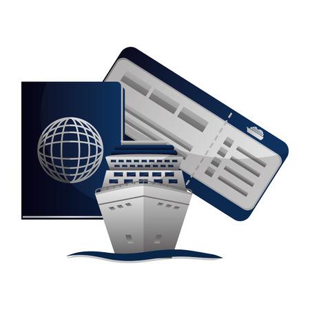 travel cruise ship passport ticket vacation vector illustration
