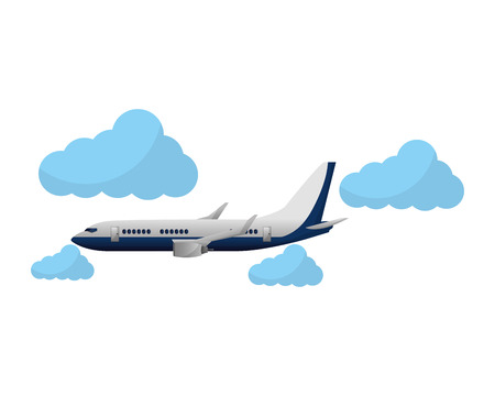 travel around world airplane flying sky vector illustration