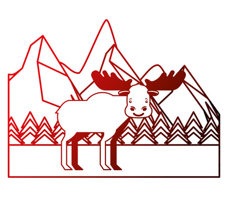 moose in winter forest landscape vector illustration neon Иллюстрация