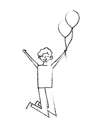 happy celebrating man holding balloons vector illustration Foto de archivo - 103553354