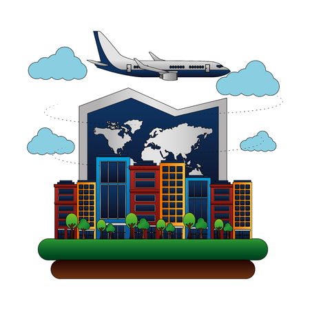 airplane flying with buildings and paper map vector illustration design Standard-Bild - 103553387