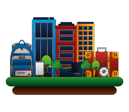 building exterior with set icons vector illustration design Illustration