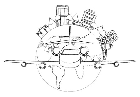 airplane flying with world planet earth and cityscape vector illustration design Illustration