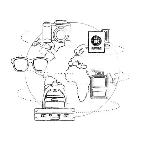 world planet earth with travel icons vector illustration design Foto de archivo - 103553463