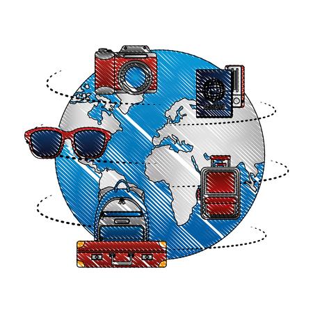 world planet earth with travel icons vector illustration design Foto de archivo - 103553528