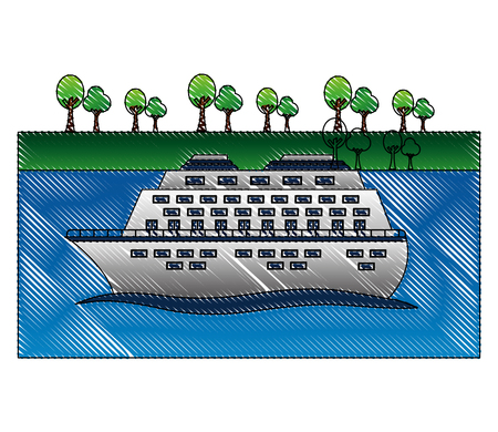 cruice ship with sea and trees isolated icon vector illustration design Illustration