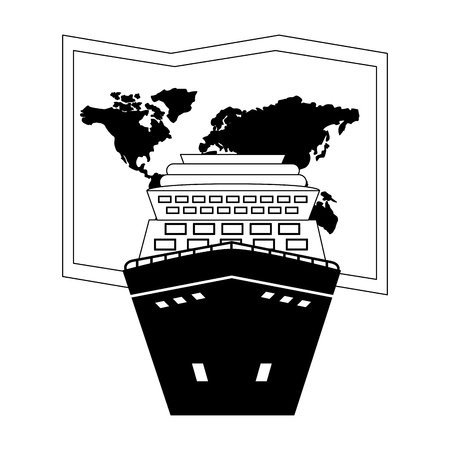 cruice ship with paper map isolated icon vector illustration design