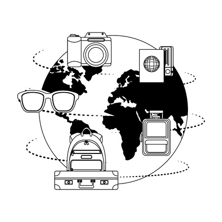 world planet earth with travel icons vector illustration design Foto de archivo - 103553974