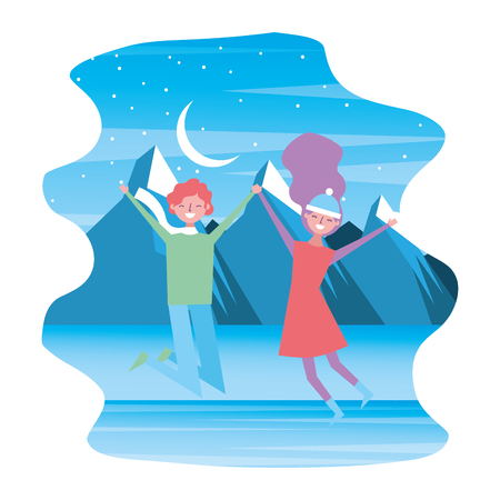 happy couple travelers in winter mountains winter landscape vector illustration