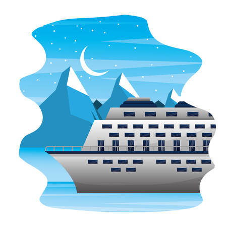 arctic cruise winter nature vacation travel vector illustration