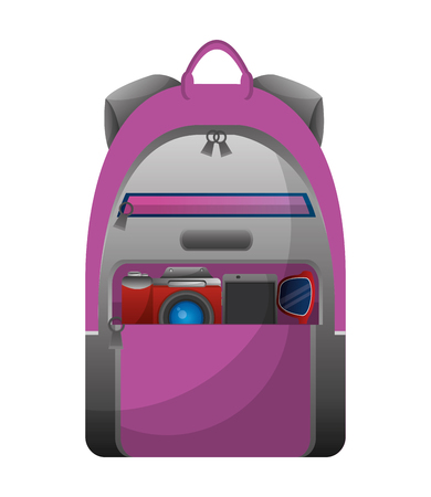 travel tourism backpack and photographic camera vector illustration