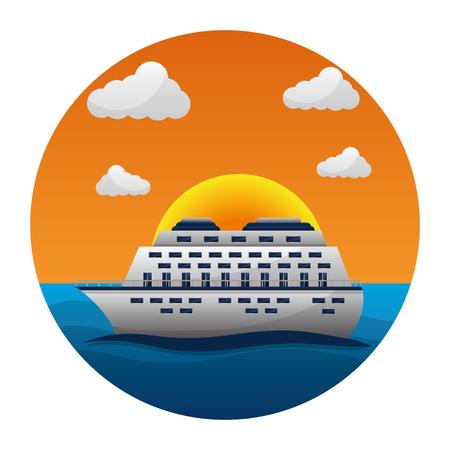 cruise ship travel ocean tropical vacation vector illustration Stock Vector - 103554853