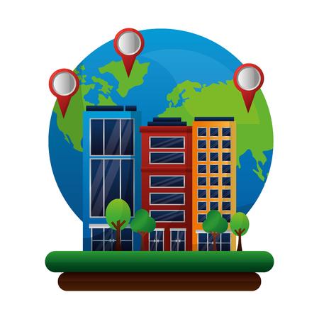 gps navigation world hotel pointers map travel vector illustration