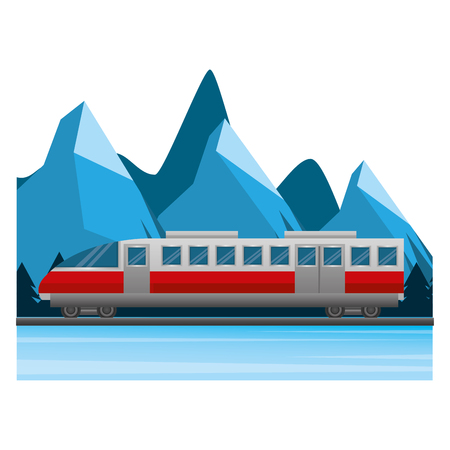 travel train tourism winter mountain scene vector illustration Illustration