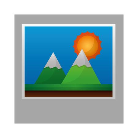 photo landscape mountains sunny day vector illustration 向量圖像