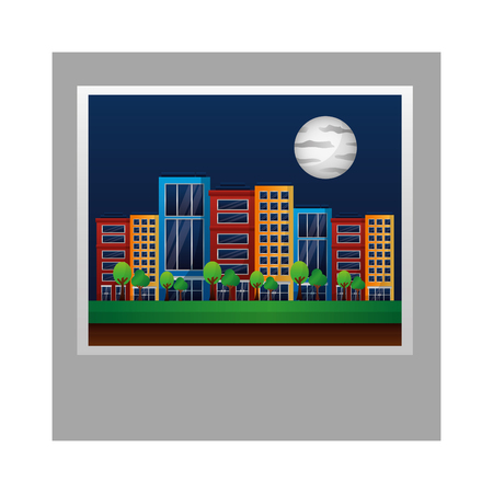 photo city in the night sky and the moon vector illustration Ilustração