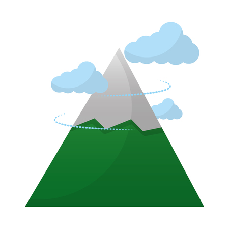 mountain snow peak clouds landscape vector illustration