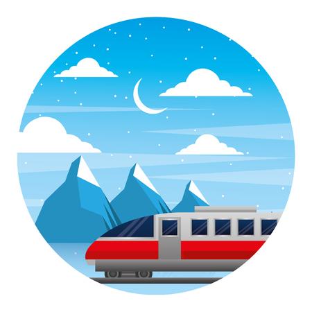 travel train winter mountains snow scene vector illustration Illustration