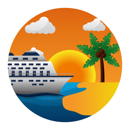 cruise ship tropical beach palm tree coconut sun vector illustration Illustration