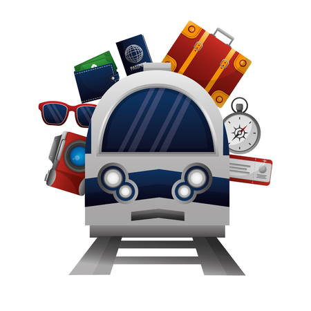 travel train camera sunglasses wallet passport bag ticket vector illustration