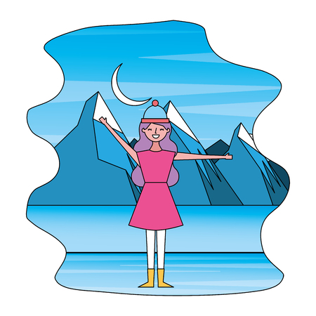 woman with warm clothes winter landscape vector illustration
